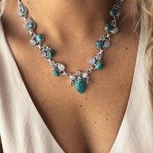Горячая Мода серебристого цвета Бохо белые зеленые цветы массивные ожерелья бусы Подвеска Чокер ожерелья для женщин Bijoux