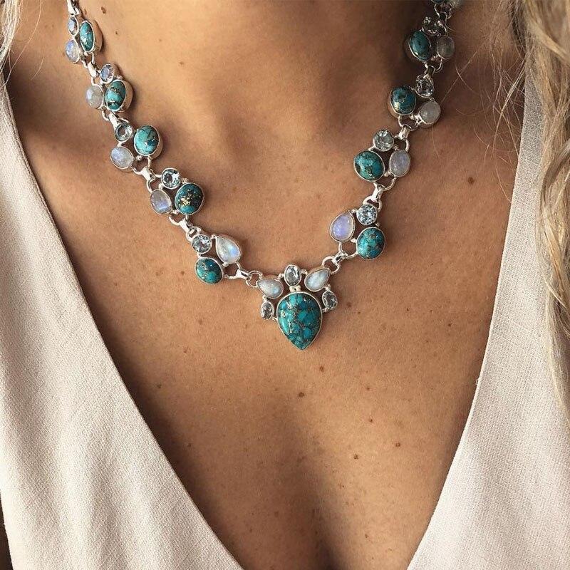 Mode chaude couleur argent Boho blanc vert fleurs déclaration colliers perles Choker pendentifs colliers pour femmes Bijoux