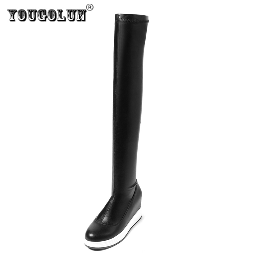 YOUGOLUN women's stretck over the knee boots woman winter autumn thigh high genuine leather boots women flat platform shoes autumn winter high quality hot sale genuine leather over the knee boots platform buckle long women boots
