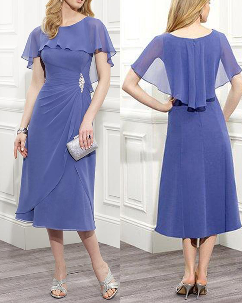 Elegant Chiffon Blue Mother Of The Bride Evening Dresses
