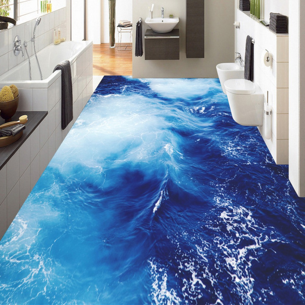 Custom 3D Floor Wallpaper Sea Water Ripple Floor Sticker Mural Living Room Bathroom Bedroom Self-adhesive Waterproof Wall Paper  custom 3d floor painting wallpaper stone steps sunshine pvc self adhesive living room bedroom bathroom floor sticker wall mural