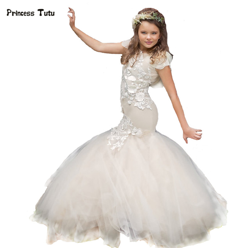 Платья для девочек с цветочным рисунком на заказ вечерние платья принцессы Русалочки цвета слоновой кости для свадебного торжества детское кружевное платье