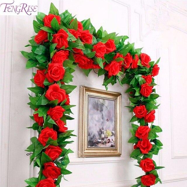 Fengrise Seide Rosen Efeu Rebe Kunstliche Blumen Fur Zuhause