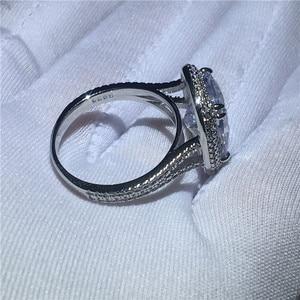 Image 5 - Choucong גדול יוקרה טבעת 925 סטרלינג כסף כרית לחתוך 8ct AAAAA זירקון cz אירוסין נישואים לתכשיטי נשים