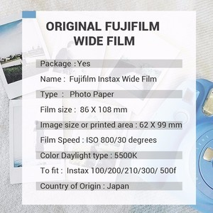Image 5 - Genuine Fujifilm Instax Wide Film Rainbow 20 Sheets Photo Paper For Fuji Instant Camera 300 / 200 / 210 / 100 / 500AF