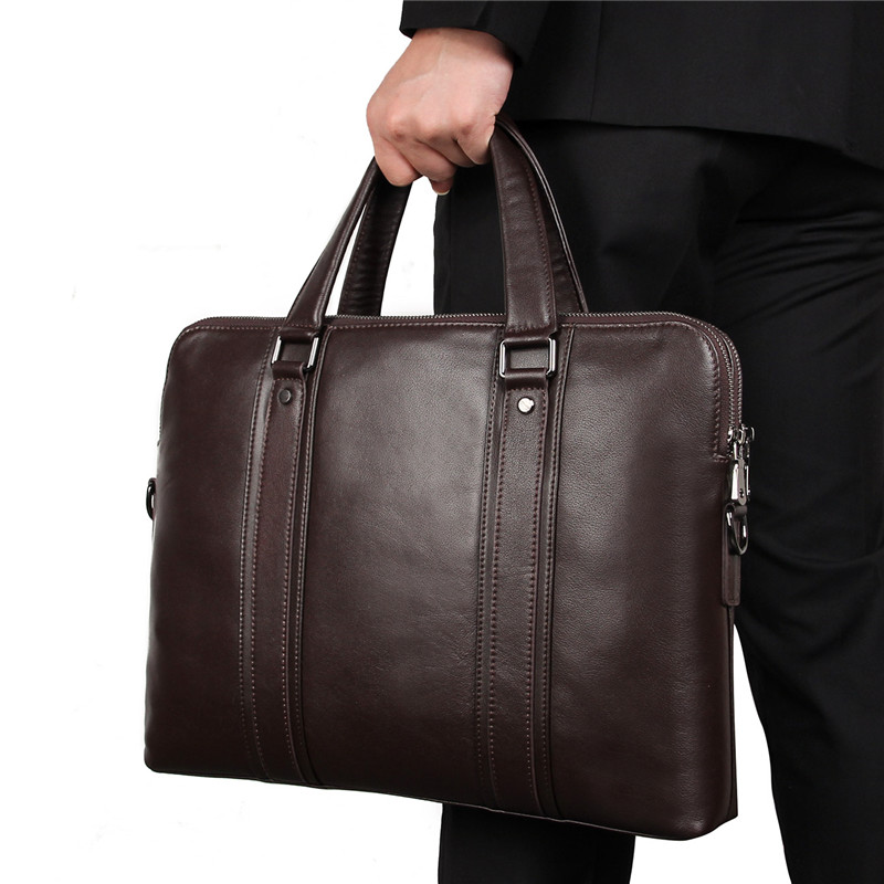 Nesitu High-end Blue Black Coffee Genuine Leather 14'' 15.6'' Laptop Men Briefcase Business Messenger Bag Office Portfolio M7325
