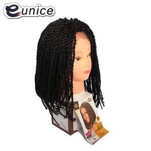 Pelucas sintéticas EUNICE Bob para mujer, peluca con malla frontal de ganchillo de 16 pulgadas, trenzado africano, 2X peluca con trenzas de Senegal, resistente al calor