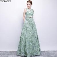 YIDINGZS Elegant Evening Dress New Fresh Green Lace Sleeveless Floor length Prom Party Formal Dress