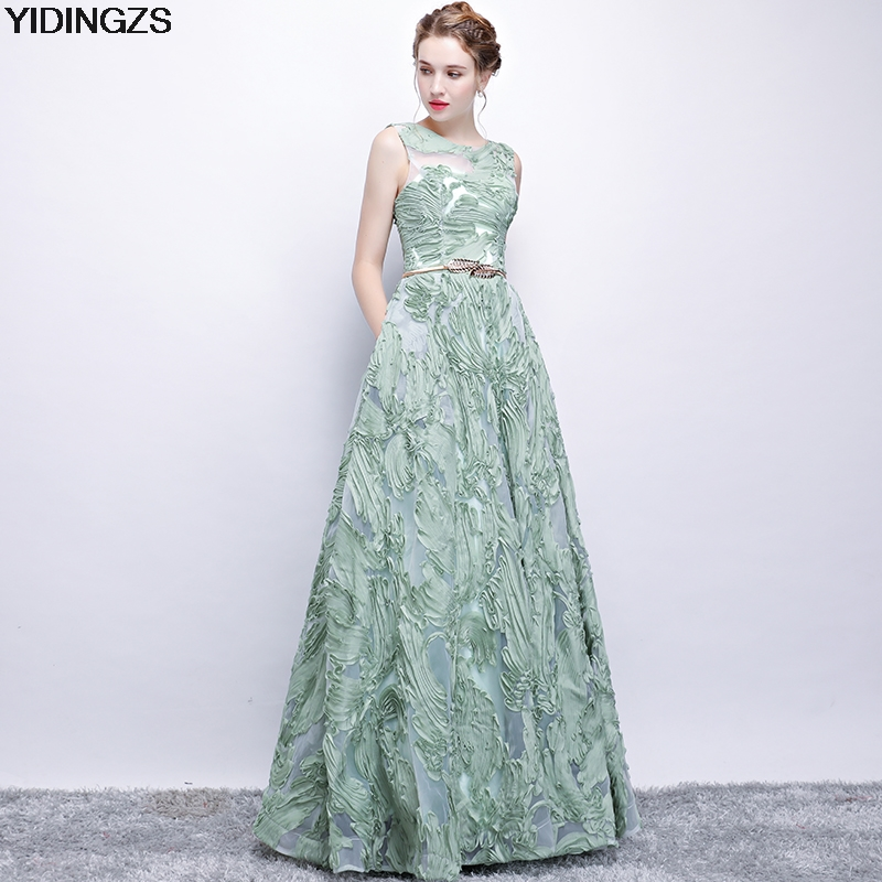 YIDINGZS Elegant   Evening     Dress   New Fresh Green Lace Sleeveless Floor-length Prom Party Formal   Dress