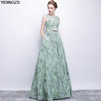 YIDINGZS Elegant Evening Dress New Fresh Green Lace Sleeveless Floor length Prom Party Formal Dress