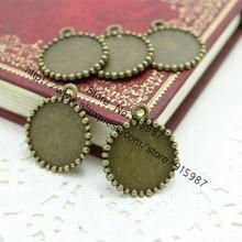50 pçs/lote 20*24mm (ajuste 16mm diâmetro) nova moda vintage liga de metal bronze redondo cameo cabochão base pingente espaços em branco configuração 7b1157