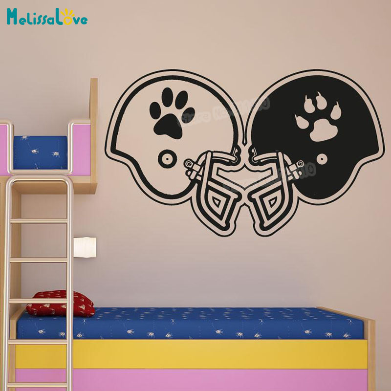 New Design Baby Cartoon Wall Sticker Rival Football Helmets Decals For Kids Boys Room 3d Self-adhesive Vinyl Art Murals YY894