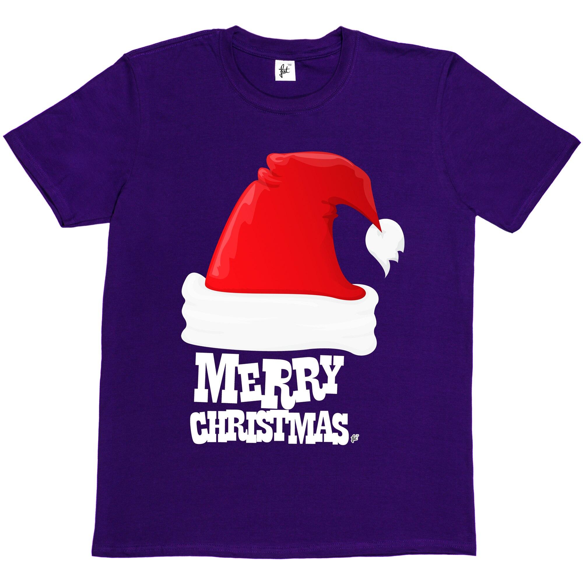 0a6af5c54ec07 Gran sombrero rojo de Santa con la bola en el extremo feliz Navidad hombre t  shirt hombres de alta calidad impresas Tops Hipster camisetas Tees camiseta  en ...