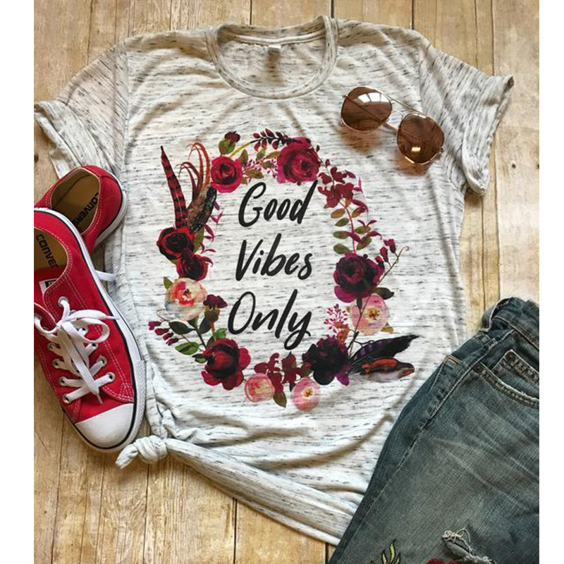 2019 Good Vibes T Shirt Mom Fall Tees Floral Blessed Women T-shirts Thankful Tee Gothic Top Womens girl Female Tops