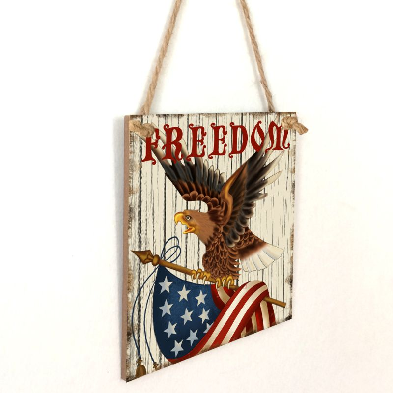 Image 3 - Vintage Wooden Hanging Plaque Freedom Sign Board Wall Door Home Decoration Independence Day Party Gift-in Plaques & Signs from Home & Garden