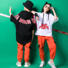 Детская одежда в стиле хип-хоп Повседневная рубашка Топ с капюшоном, спортивные штаны для девочек и мальчиков, костюм для джазовых танцев Одежда для бальных танцев