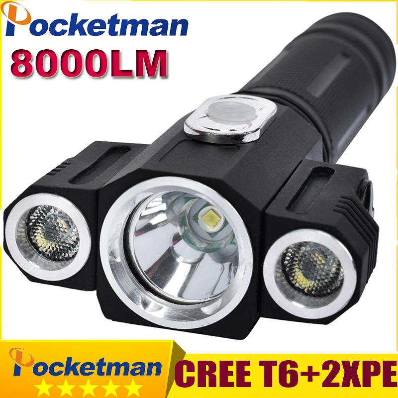 8000 Lumens LED Flashlight Tatica Lampe Torche Torch Lanterna Led CREE T6 + 2XPE Rotating Camping Hunting Torch Magnet Lanterna high quality outdoor flashlight cree t6 led searchlight torch for camping shock resistant lampe torche