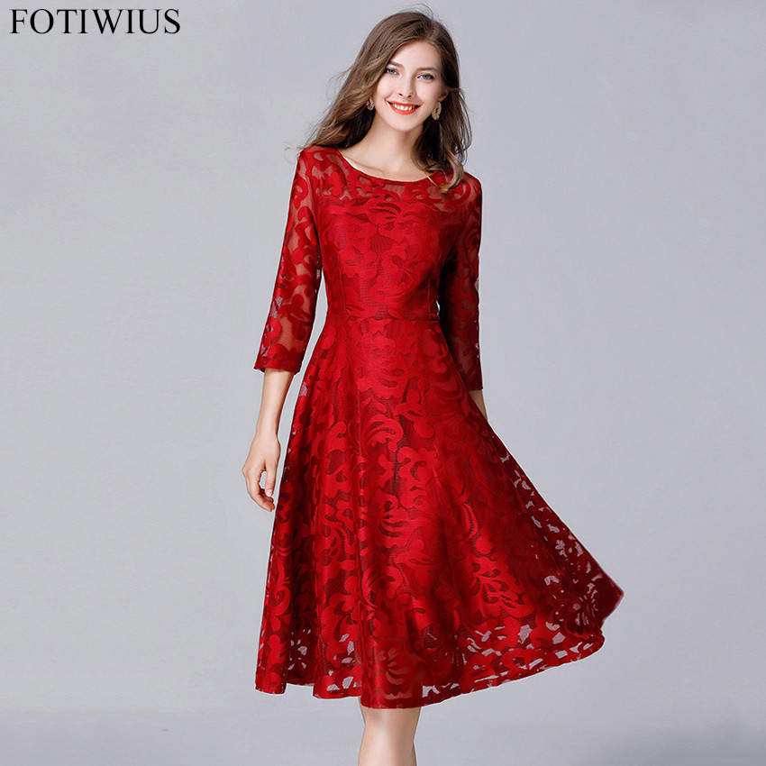 ee89e2439de Plus Size Red Lace Skater Dress · 4xl 5xl Size Dress High Quality Women  Fashion 2018