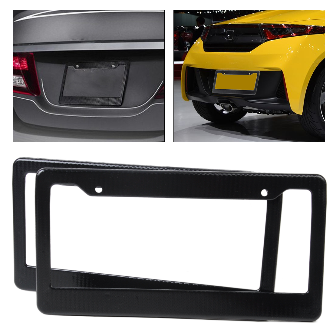 For Malibu Black Carbon Fiber Look Painted License Plate Frame x 2