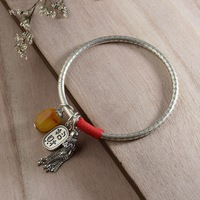 HAFANCYW 990 Silver with Beeswax Charm Bracelet Wholesale Buddhist Culture Heart Sutra Scripture Female Closed Tassel Bangle