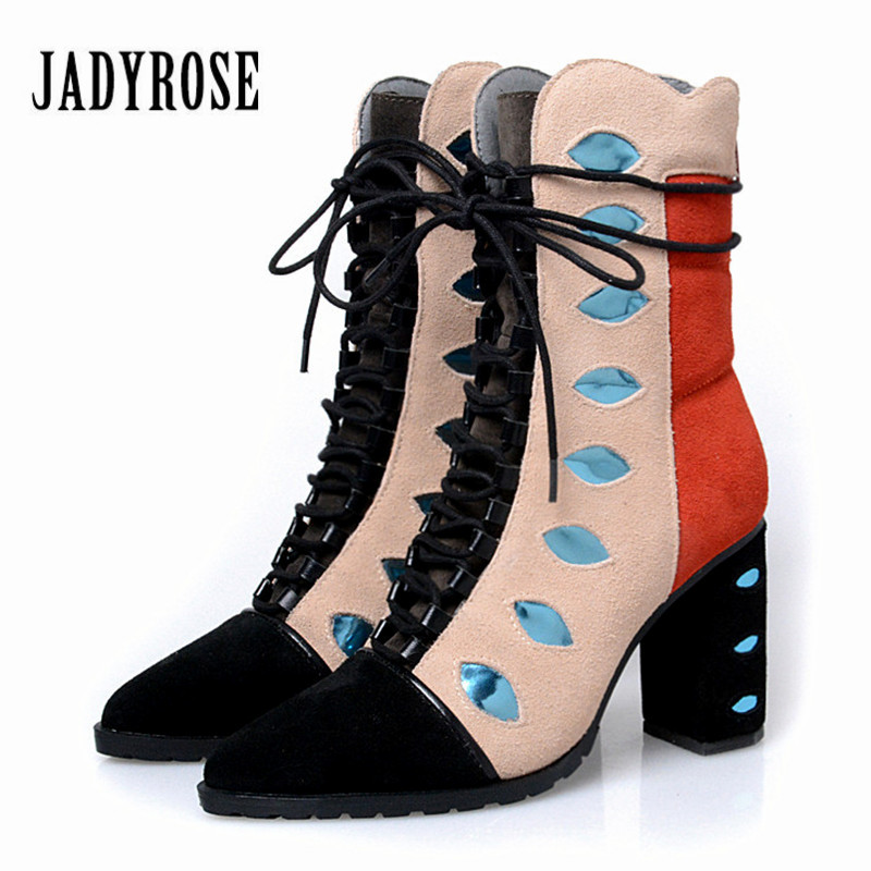 Jady Rose Mixed Color Women Ankle Boots Pointed Toe Chunky High Heel Booties Suede Lace Up Botas Mujer Women Pumps jady rose mixed color women ankle boots pointed toe chunky high heel booties suede lace up botas mujer women pumps