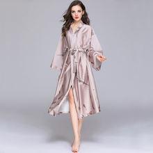 Женский халат кимоно из вискозы с длинным рукавом