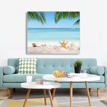 Laeacco Canvas Calligraphy Painting Tropical Poster Print Star Beach Palm Tree Sky Wall Art Living Room Bedroom Home Decoration