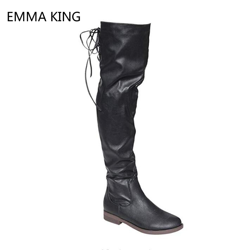 Faxu Leather Boots Women Lace Up Thigh High Boots Stretch Low Chunky Heels Square Toe Knee High Boots Female Black Big Size