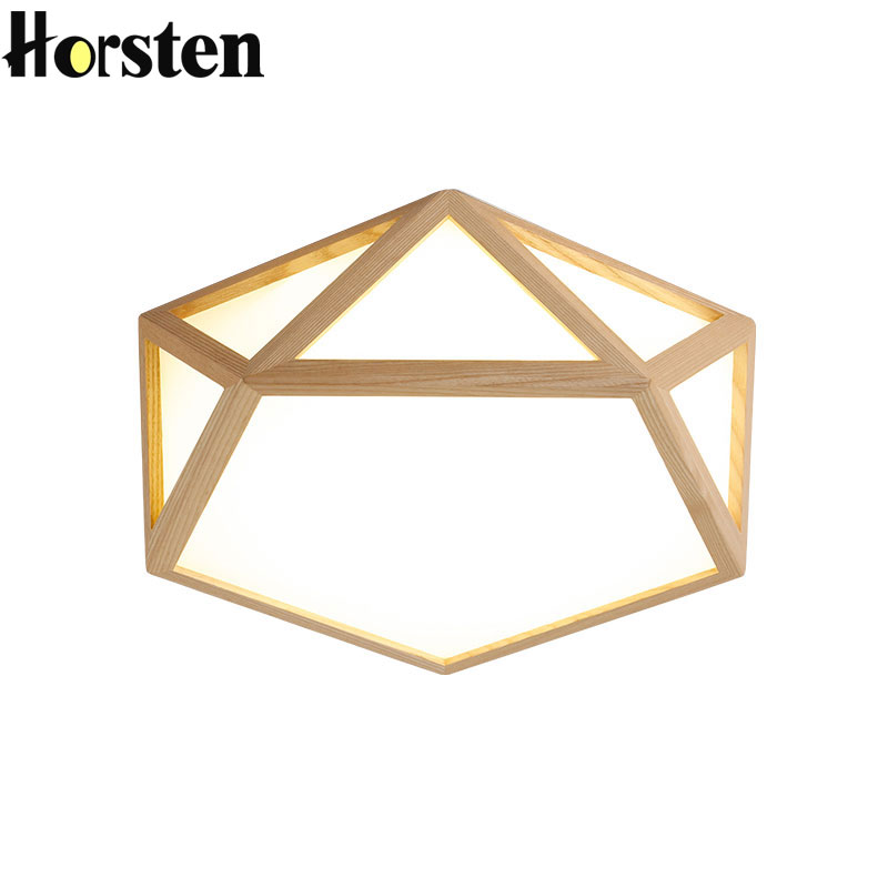 Nordic Geometry OAK Wooden LED Ceiling Lighting Japanese Style Ceiling Lamp For Living Room Bedroom Study Room Kitchen fashion american style room remote control oak electric fan ceiling lamp decorate in cafe restauest study room inn balcony bar