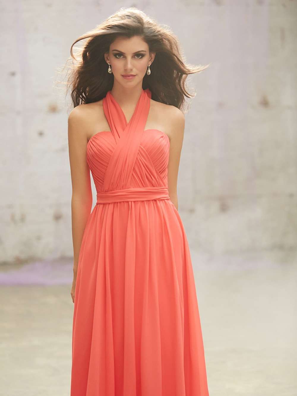 Dress rayon picture more detailed picture about low price custom low price custom made coral colored chiffon full length sleeveless long bridesmaid dress convertible dresses vogue ombrellifo Images