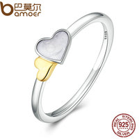 BAMOER 100 Genuine 925 Sterling Silver Luminous Hearts Feature Ring Women Sterling Silver Jewelry PA7615