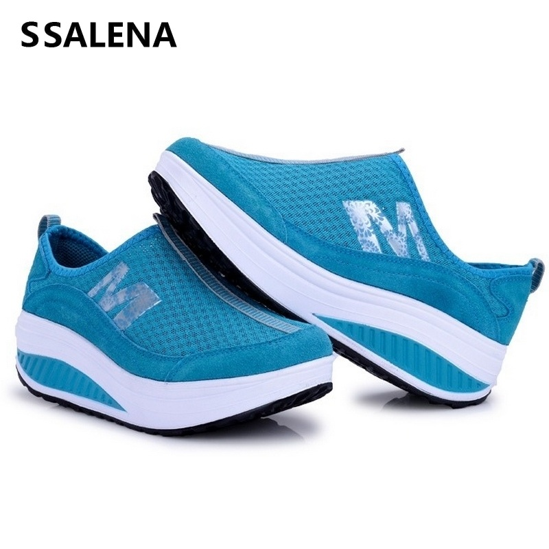 Sneakers Shoes Platform Wedges Slim Women Height Breathable Cushion Increasing Non-Slip