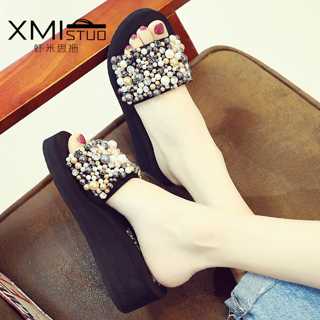 0f9b3d723 New fashion summer women home slippers outdoor string bead high-heeled word  dragging days pearl wedges beach shoes wedding shoes
