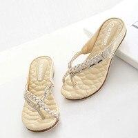 2017 Deux Couleurs argent or Femmes Flip Flops Appartements Tricotés Romain Style Gladiateur Sandales Femmes Clip Orteil Sandales Plates footwears