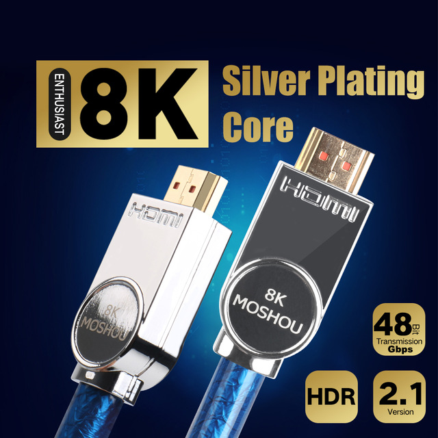 Real HDMI 2.1 Cable Ultra-HD UHD 8K HDMI 2.1 Cable 48Gbs with Audio /& Ethernet