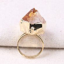 1PC Women Finger Rings Natural Stone Irregular Crystal Amethysts Citrines Quartz Gold Color Ring Jewelry