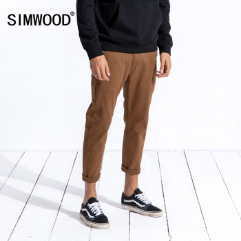 SIMWOOD 2019 New Spring Spring Casual Pants Men Fashion Brand Clothing Slim Fit Plus Size Ankle-Length Corduroy Trousers 180573