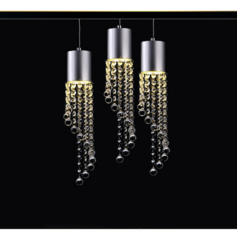 LED Crystal hanging lamp restaurant lamps bar dining room lampshade creative personality three heads simple head Lighting modern simple oval bedroom lighting living room crystal ceiling lamp creative restaurant dining room led crystal hanging lamps