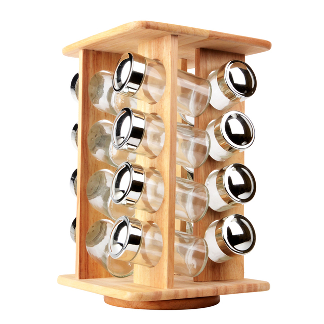 Wooden Revolving Spice Rack With 16pcs Glass Jars Kitchen Rotating  Flavouring Storage Tool For Spices Salt