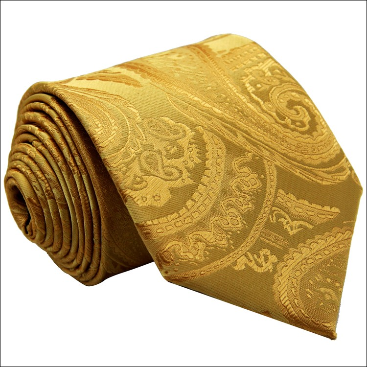 Solid 100% Silk Floral Paisley Yellow Gold Men's Neckties