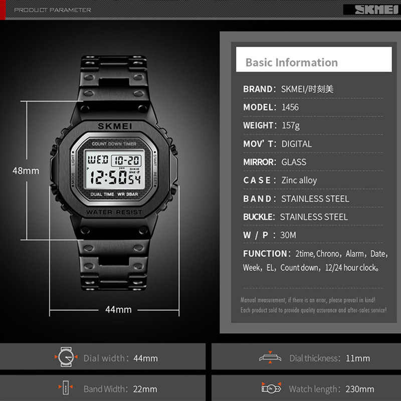 SKMEI hommes montre de sport célèbre LED montres numériques montre pour hommes d'affaires hommes montres étanche décontracté en acier inoxydable mâle horloge