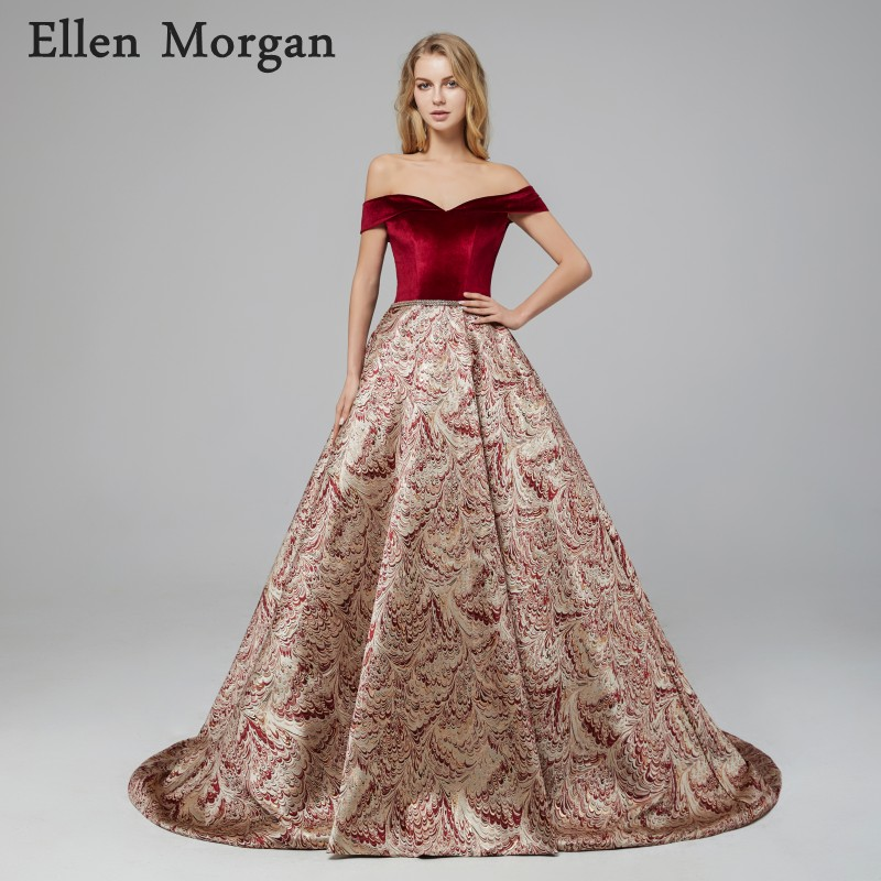 Sexy Burgundy Ball Gowns   Evening     Dresses   2018 Sale Robe De Soiree Lace up Corset Off Shoulder Celebrity Formal Party Prom Gowns