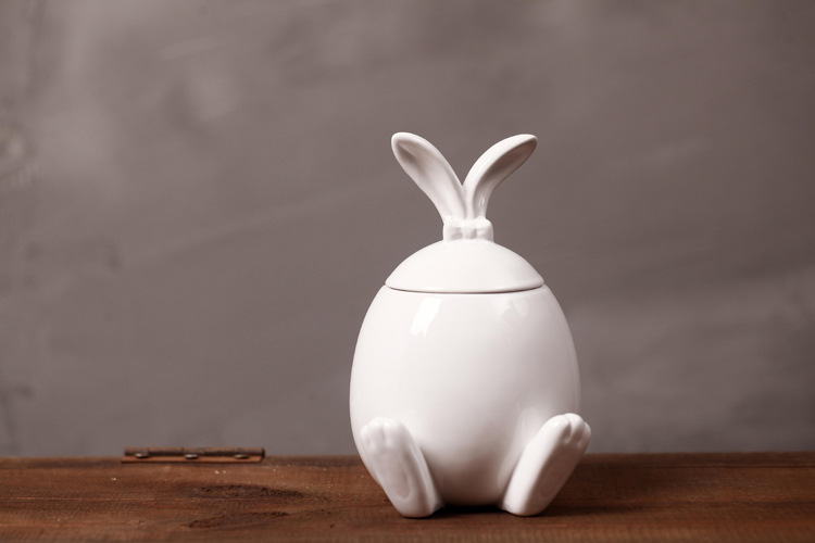Long Ears Rabbit-shaped Lid Storage Figurine Pot Ceramic Ornaments Creative Desktop Wedding Gifts Home Furnishings