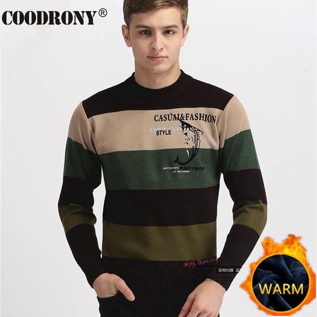 Alta Qualidade Outono Lã Suéter Listrado Dos Homens Da Marca 2016 O-pescoço suéter de Cashmere Homens Suéteres Casuais Camisa Impressão Pullover Homens Puxar Homme