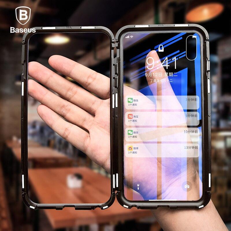Baseus Magneto Magnetische Adsorption Fall Für iPhone X Metall Stoßstange + 9 H Gehärtetem Glas Fall Für iPhone X Telefon fällen