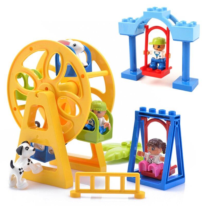 DIY Accessories Figures Duploe Animals Swing Ferris Wheel Building Blocks Kids Duploed Toys Gift Bricks Parts