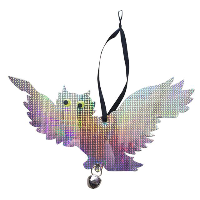 VICTMAX Reflective Owl Decoy Bird Repellent Driven Flashy Scarecrow Bird Deterrents with Tinkling Bells Pest Control 2 Types