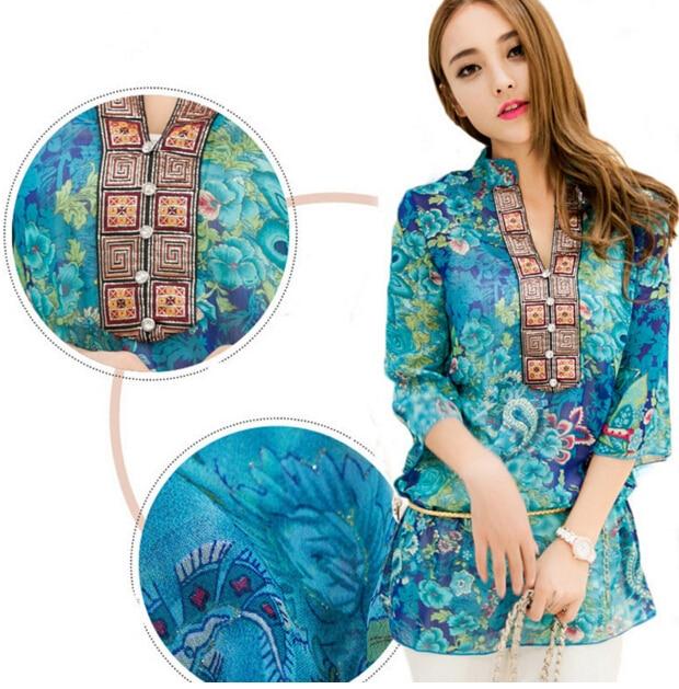 2016 New Spring Summer Womens Print Chiffon Loose Long Blouse Red Blue Shirt Blusas Feminina blusas y camisas mujer size M-4XL