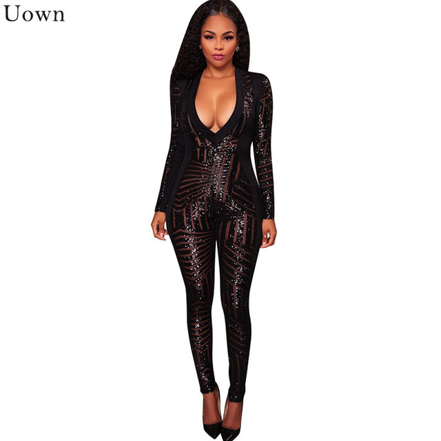 a6d958be29e2 Doyerl Autumn Women Black Sequin Jumpsuit Sexy V-Neck Mesh Sheer Sparkly  Bodysuit Glitter Long Sleeve Romper Party Club Catsuit