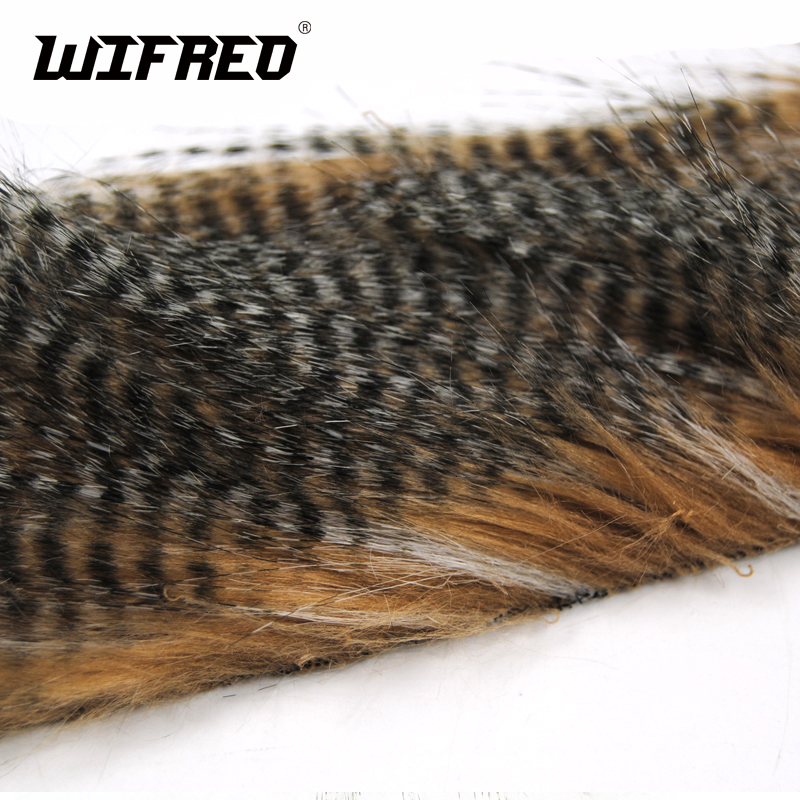 Wifreo 1 Bag 5 X 12CM Fly Tying Furabou Grizzly Color Craft Fur Fiber for Streamer Tail Wing Material Medium Size wifreo 1pack 30cm crimped kinky minnow fiber streamer fly fibers bucktail jig head tying material for fly fishing bass lure